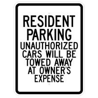 Resident Parking Tow Away Zone