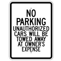 No Parking Unauthorized Cars Towed Away